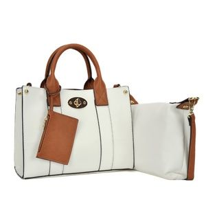 NEW - White Faux Leather Classy Chic Satchel Bag